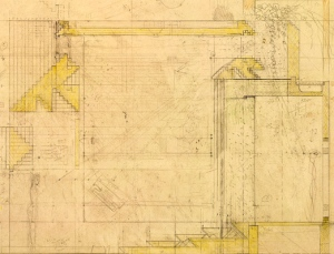 Colour drawing of the detail of the design for the Brion tomb, San Vito di Altivole, Treviso, 1971