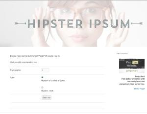 Homepage of Hipster Ipsum