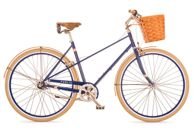 Public Mixte with bamboo fenders, Brooks saddle, and Peterborough basket!