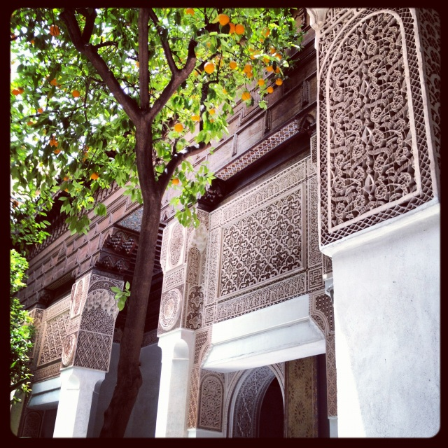 Orange trees and ornate stucco walls in Fes. (Remember the oranges in Seville?)