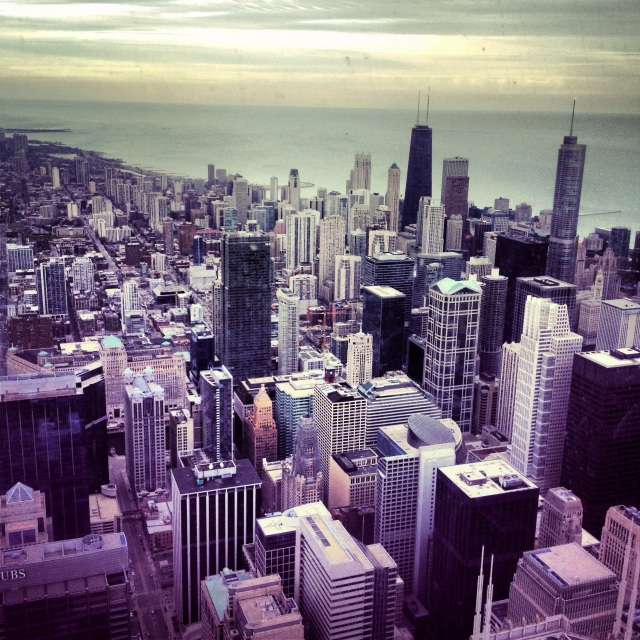 Skyline from above with a view to Lake Michigan