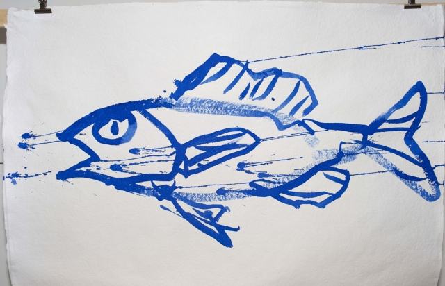 Joan Jonas, Fish Drawing from They See Our Sounds Installation, 2013, at Galleria Alessandra Bonomo