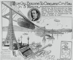 """From Call Building to Oakland City Hall in 5 Minutes"" from the California Digital Newspaper Collection, Center for Bibiliographic Studies and Research, University of California, Riverside. Courtesy of 99% Invisble via The Urbanist."