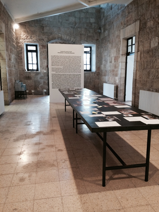 """Installation view of the exhibition """"Introduction to Palestinian Museums,"""" curated by Jack Persekian at the Al-Bireh Municipality Cultural Center"""